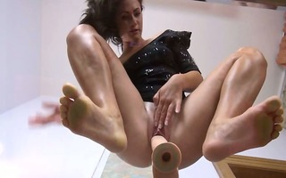 ultra hot bawdy cleft dildoing on the glass