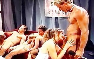 retro movie scene with group orall-service scenes