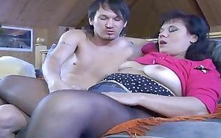 sexy older hottie in dark control top pantyhose