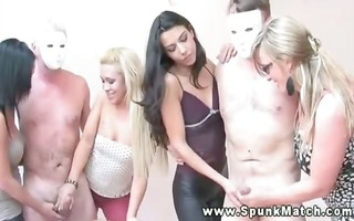 slutty cfnm hotties win this cum comp with this