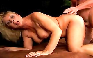older rosalyn squirts and receives cummed on