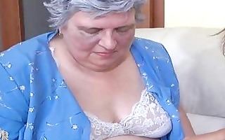 old breasty granny playing with slender hotty