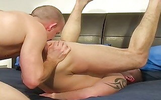 tattooed homo hunk got his a-hole licked and