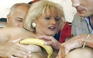 aged german blonde receives double drilled