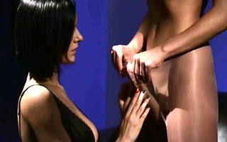 lustful brunette hair engulfing dick of rubber