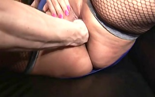 bulky woman with large mambos in stocking bonks
