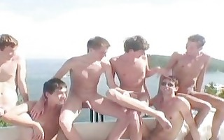 six hawt twinks having homo fucking party in a