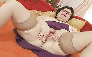 old grandma with glasses fingering curly snatch
