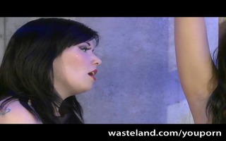 hot obedient fastened to rack by femdom and