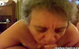 52 years granny sandra engulfing dong of her love