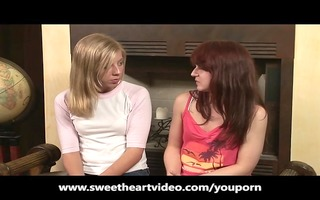 redhead and golden-haired lesbo 118 and cum