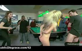 fastened pantoons breasty blond fucked in public