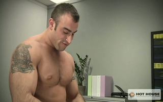 muscled guy spencer overpowers aj and throws him