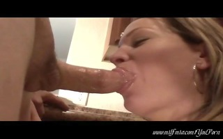 mother i blows hubby in kitchen