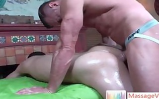 lucas acquires his butthole greased with oil and