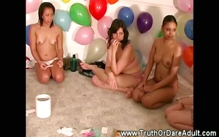 lesbo party nubiles eat muff and rub clitoris