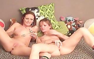 lesbos explore anally with dildos