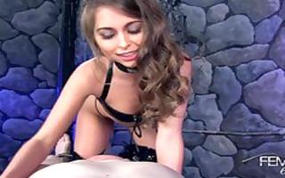 riley reid teases her slaves penis until it is