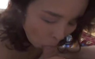 oriental d like to fuck receives a hairy creampie