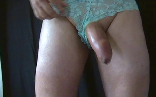 cum discharged in green lace pants
