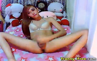 cute oriental tgirl disrobes and then showed her