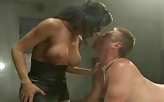 toned latin babe t-girl dominates tied chap
