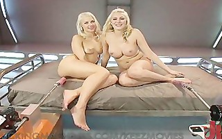 cute and concupiscent blondes pounded by machines