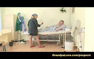 grandad love trio with sexy nurse
