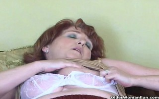 naughty granny has solo sex with marital-device