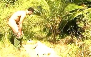 non-professional sex in the forest jungle