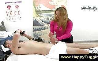 charming asian masseuse puts hand on knob