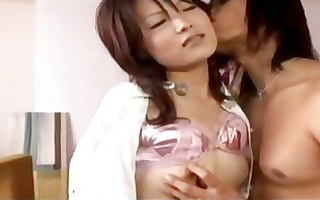 oriental hotty in white shirt getting her