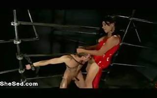 red latex shelady copulates bondaged homo boy