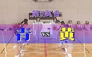 amateur oriental girls play undressed basketball