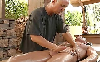 muscled homo hunk gets his schlong oiled and