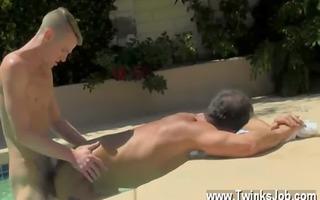 homosexual sex dad poolside prick loving