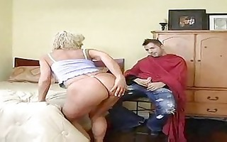 sexy golden-haired cougar bangs younger after