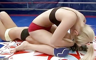 perspired blonde angels having lesbo catfight at