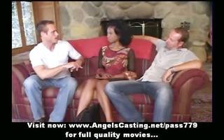 virginal afro bride in trio does oral pleasure