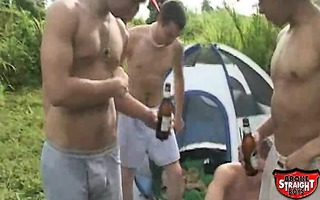 five broke straight chaps fuck and engulf on a