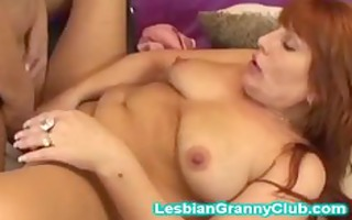 hawt golden-haired granny copulates her redhead