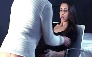 lesbo strap on hardcore sexing
