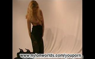 non-professional angel disrobe in nylon (clip)