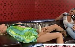 euro lesbians disrobe and use toys on their juicy