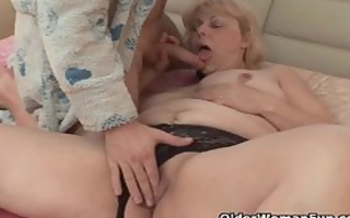 plump grandmother acquires penis up her butt