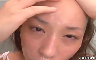 cute japanese girs face overspread in cum after