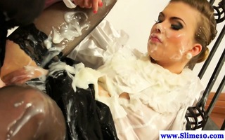 bukkake sweetheart receives strapon domination by