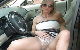 breathtaking golden-haired mother i in hose shows
