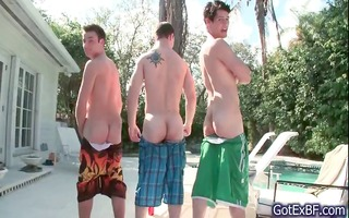 astonishing gay foursome by the swimming part0