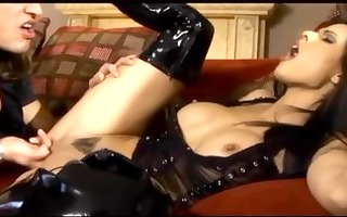 breasty dark brown fucking in haunch high latex